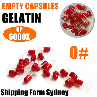 AU5.22 • Buy Size 0 Bulk Hard Gelatin Empty Capsules Red Clear Gel Medicine Pill Vitami AU