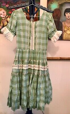 $20.99 • Buy Vintage 50s Square Dance Patio Dress Mint Green Plaid Silver And Lace Size S/M
