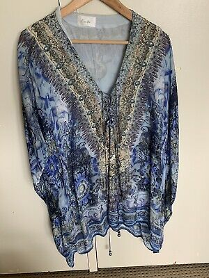 AU192.50 • Buy Camilla Franks Short Blue Floral Print Silk Crystal Bead Embellished Kaftan O/S
