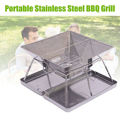 $ CDN120.42 • Buy Camping Charcoal BBQ Grill Rack Stainless Steel Folding Barbecue Cooking Tools