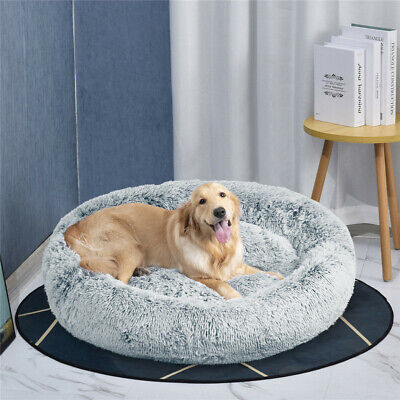 AU51.92 • Buy 50 - 118cm Calming Plush Soft Cuddler Donut Pet Dog Cat Bed Cushion Warm Sleepin