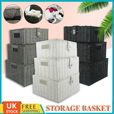 SET OF 3 Resin Wicker Woven Storage Baskets Hamper Lid & Clasp Box Gift UK Stock • 16.99£