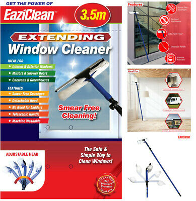 3.5m 10ft Telescopic Window Cleaner Cleaning Kit Extending Wash Head Squeegee • 12.50£