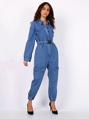 £24.95 • Buy Womens Jumpsuit Denim Boiler Suit Blue Size 6 10 12 14 8 All In One Catsuit