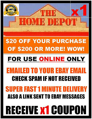 $1.99 • Buy Home Depot $20 Off $200 - ONLINE ONLY - X1Coupon FAST 1 Minute-E-Delivery.