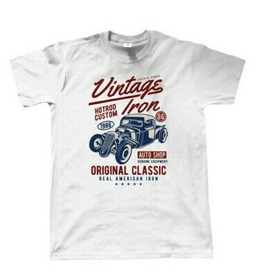 $ CDN26.18 • Buy Vintage Iron, Mens T Shirt - Original Classic Real American Hotrod Car Gift Him