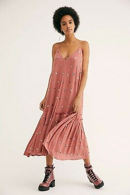 $81.17 • Buy Free People Sequin Milky Way Boho Dress Pink Size Small UK 10-12 NEW