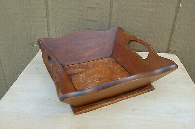 $ CDN26.36 • Buy Primitive Wood Tote Basket Cut Away Hole Handles Square 10 1/2 X10 1/2  Caddie