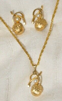 $17.95 • Buy Sarah Coventry  Acorn Treasures  Pendant Necklace & Clip Earring Set, Faux Pearl