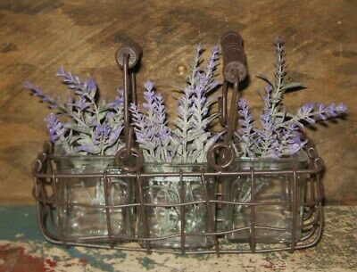 $ CDN32.48 • Buy Farmhouse Metal BASKET*Lavender Filled Glass Jars*Primitive/French Country Decor