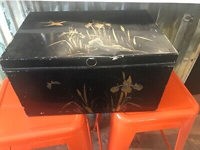 $12 • Buy Vtg Primitive Cottage Metal Tin Bread Box  Black And Gold Retro 30s Hand Painted