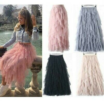 Ladies High Waist Elastic Ruffle Mesh Tulle Tutu Sheer Net Pleated Maxi Skirt UK • 13.59£