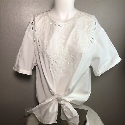 $29.99 • Buy ZARA WOMAN Large Size 10 Top White Tie Front Eyelet Short Sleeve Cotton Blouse