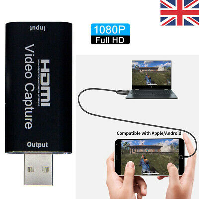 UK 1080P HDMI To USB Video Audio Capture Card Recorder For Game / Live Streaming • 8.36£