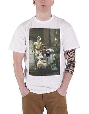 Star Wars T Shirt Force Awakens Three Droids BB 8 Official Mens White Size L • 9.99£