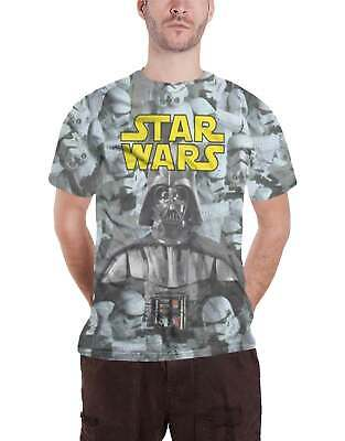 Star Wars T Shirt Darth Vader Stormtroopers Official Mens White Slim Fit Sub Dye • 12.95£