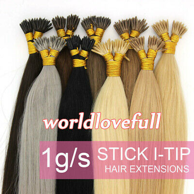 $26.15 • Buy Pre Bonded Keratin Stick I Tip Remy Human Hair Extensions Double Drawn Thick1g/s