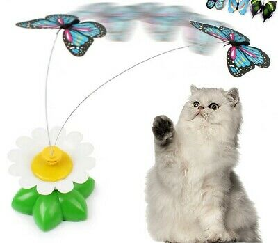 AU13.99 • Buy Pets Cat Toys Teaser Electrical Rotating Colorful Butterfly Bird Scratching