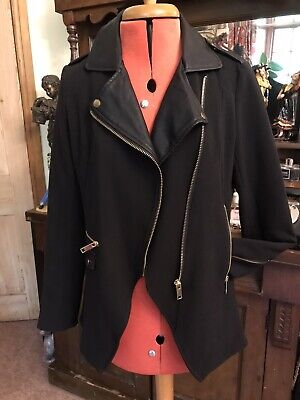 £15 • Buy Rock Chick Black Biker Style Jacket Faux Leather Collar Gold Zips Gorgeous Sexy