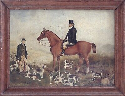 A Naive Antique Sporting Oil On Board Of The Hunt Master With His Hounds, C.1850 • 280£