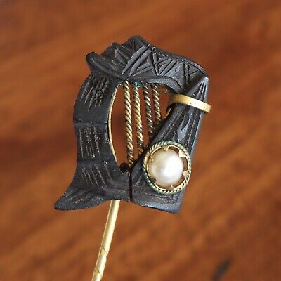 An Antique Late Victorian Carved Irish Bog Oak Harp Stick Pin With Pearl Detail. • 75£