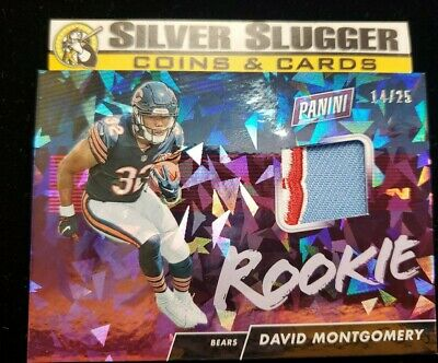 $19.99 • Buy 2019 David Montgomery Panini Day Cracked Ice RC #14/25 3 Color Patch Jersey Card