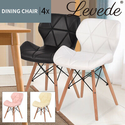 AU169.99 • Buy Levede 4x Retro Dining Chairs Leather Padded Seat Home Office Cafe Chair