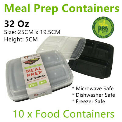 AU19.99 • Buy 10x Meal Containers 3 Compartments Food Storage Tray Lunch Box Microwave Plastic