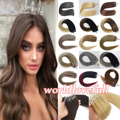£27.52 • Buy Loop Micro Ring Beads Tip Remy Human Hair Extensions Highlight Balayage Ombre 1g