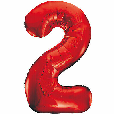 AU9.99 • Buy 2nd BIRTHDAY BALLOON 34  FIRE ENGINE RED NUMBER 2 FOIL SUPERSHAPE UNIQUE BALLOON