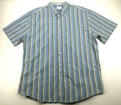 $12.80 • Buy J Crew Mens XL 80s Two Ply Blue Green Striped Short Sleeve Button Front Shirt
