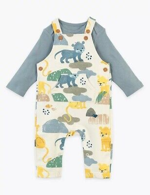 Mark And Spencer's Baby Dungarees 9-12 Months Cotton Animal Print Long Sleeve  • 12.90£