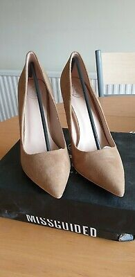 MissGuided Entry Court Shoe Faux Suede - Nude Size 7 • 19.99£