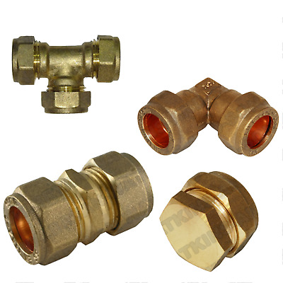 10mm Brass Compression Fittings For Copper Plumbing Pipe Hot & Cold Systems • 2.95£