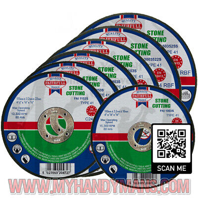 AU14.14 • Buy Faithfull Stone Cutting Discs - Cut Off Disc For Stone - Various Sizes Available