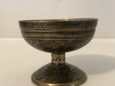 Vintage 2  Small Engraved Enamelled Brass Goblet Chalice Wine Glass / Bowl / Pot • 6.50£