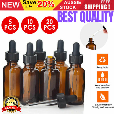AU12.37 • Buy Amber Glass Bottle Dropper Pipette Liquid Reagent Perfume Eye Essential Oils AU