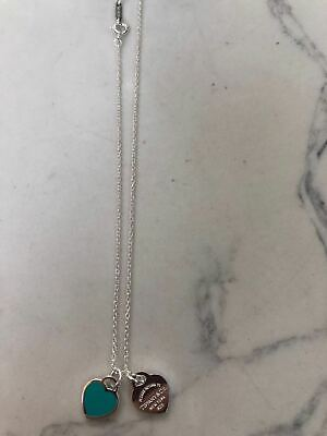 $72 • Buy Return To Tiffany & Co. Mini Double Heart Tag Pendant Necklace Blue Enamel 18
