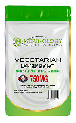 £14.99 • Buy Magnesium Glycinate Capsules Pure 750mg Tablets Vegan High Strength Herbology