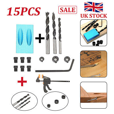 15pcs Pocket Hole Jig Kit Woodworking Guide Oblique Drill Angle Hole Locator • 7.29£