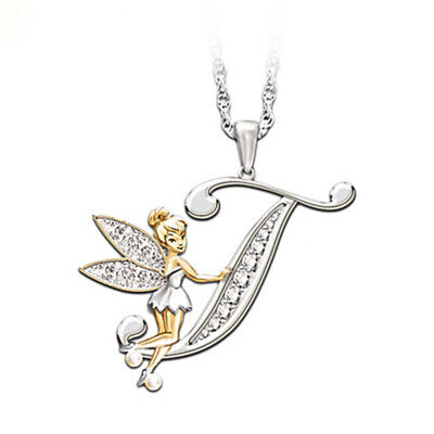 Stunning Tinkerbell Fairy Alphabet Letter  T   Pendant Necklace With Organza Bag • 2.99£