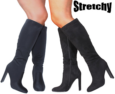£24.99 • Buy New Woman Ladies Sexy Black Vegan Knee Calf Fit High Heel Boots Stretch Stretchy