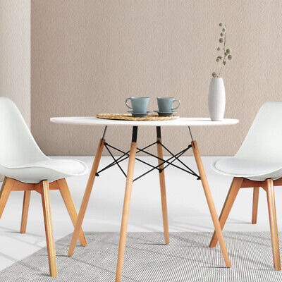 AU121.90 • Buy Artiss Dining Table Round 4 Seater Replica Tables Cafe Timber White 90cm