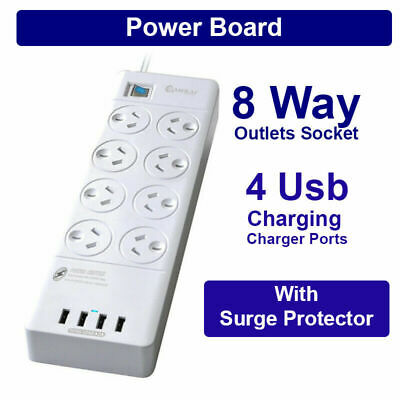 AU48.69 • Buy 1 Pcs Power Board 8 Way Outlets Socket 4 Usb Charger Ports W/Surge Protector