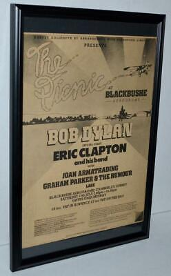 $49.99 • Buy Bob Dylan 1978 Eric Clapton The Picnic Framed Promotional Concert Poster / Ad