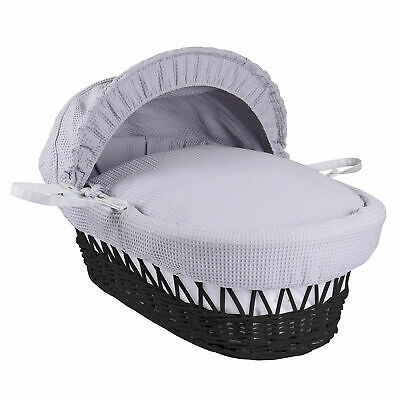 Clair De'Lune Lightweight Wicker Moses Basket With Waffle Bedding Set • 40£