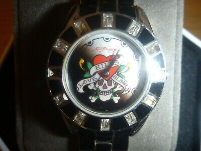 AU49.99 • Buy Women's Black Ed Hardy Love Kills Slowly Watch Black Stainless Steel Band 18cm