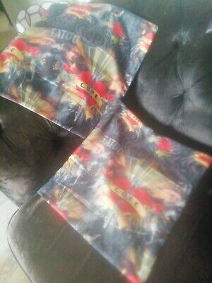 Vintage  Tattoo Love Roses Print Cushion Covers Red Black Grey 16  X17   New  • 16£