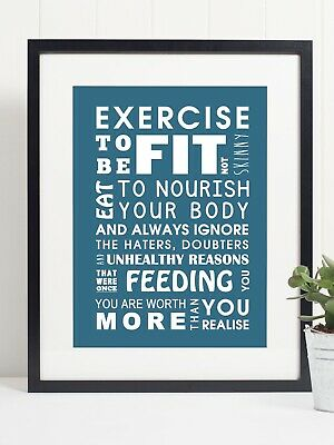 Exercise To Be Fit You Are Worth More - Quote - Art Print Poster - Motivational • 4.99£