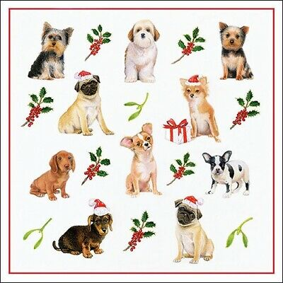 5 Paper Party Napkins Christmas Dogs Pack Of 5 3 Ply Tissue Serviettes • 2.50£